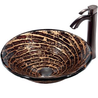 Caramel Vessel Sink in Chocolate Swirl with Oil Rubbed Bronze Faucet