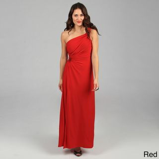 Tabeez Womens Ruched Beaded Jersey Gown