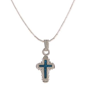 Southwest Moon Ornate Cross Turquoise Inlay Liquid Metal 16 inch