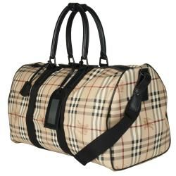 Burberry Large PVC Beige Plaid Duffel Bag