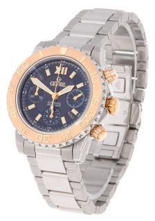 Gevril Mens Automatic Black Dial Stainless Steel Chronograph Watch
