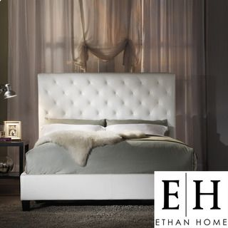 ETHAN HOME Sophie White Vinyl Tufted King size Bed