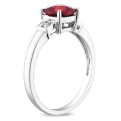 Miadora Sterling Silver Garnet and Diamond Fashion Ring
