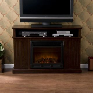 Hensely Espresso Media Console Elecric Fireplace