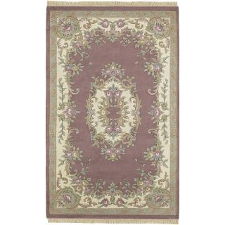 Hand knotted Aubusson New Zealand Wool Rug (76 x 96)