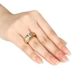 Miadora Yellow Silver Baguee cu Green Amehys Band Ring