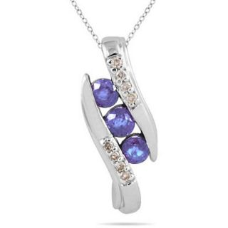 10k White Gold 3 stone Tanzanite and Diamond Pendant