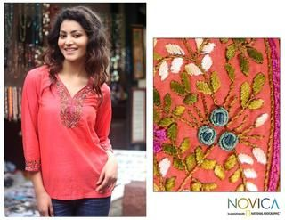 Cotton Tangerine Floral Blouse (India)