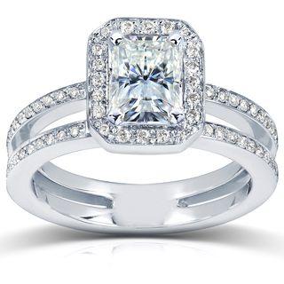 14k Gold Moissanite and 1/3ct TDW Diamond Engagement Ring (G H, I1 I2