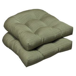 Pillow Perfect Outdoor Green Textured Wicker Seat Cushions with