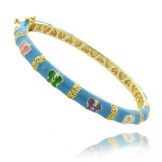 14k Gold Overlay Childrens Turquoise Enamel Butterfly Design Bangle