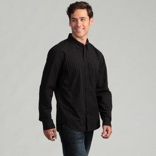 Calvin Klein Jeans Mens Black Striped Woven Shirt