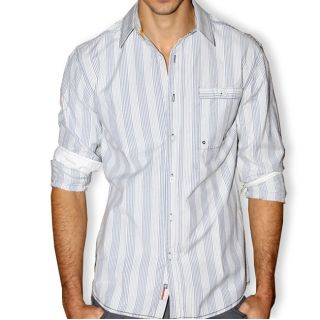 191 Unlimited Mens Striped Seersucker Button front Shirt