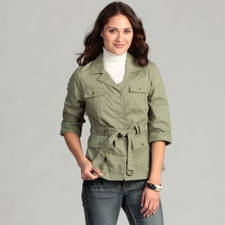 Live a Little Womens Belted Roll Sleeve Jacket