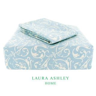 Laura Ashley Ashby 200 Thread Count Blue Full size Sheet Set