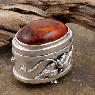 Sterling Silver Cognac Baltic Amber Keepsake Box (Poland)