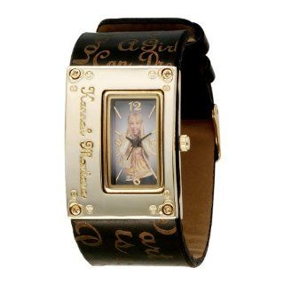 Hannah Montana Kids HHM176 Black Cuff Gold tone Case Analogue Watch