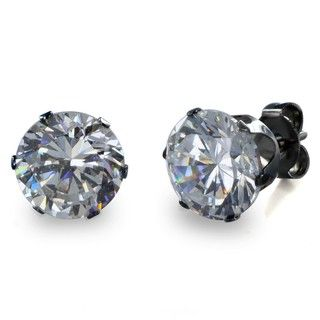 West Coast Jewelry Black Stainless Steel Cubic Zirconia Stud Earrings