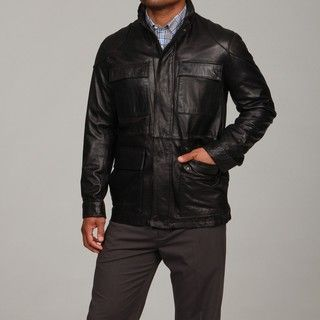 Larry Levine Mens Lambskin Leather 4 pocket Jacket