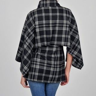 Allyson Cara Womens Black/ White Plaid Fashion Cape Jacket