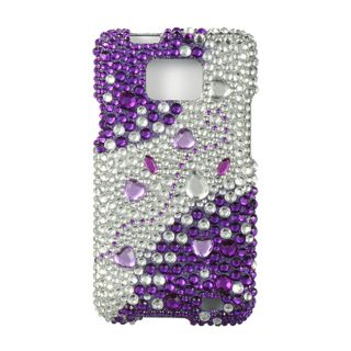 Full Rhinestone Purple Silver Case for AT&T Samsung Galaxy SII I777