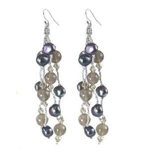 Adee Waiss Sterling Silver Peacock Pearl and Grey Agate Earrings (6 7