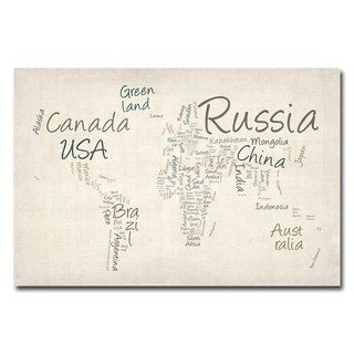 Michael Tompsett Typography World Map Canvas Art
