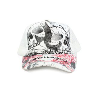 Faddism Unisex White Twin Skull Baseball Cap