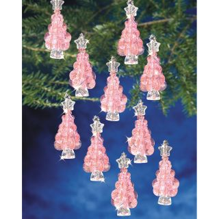 Holiday Beaded Ornament Kit Mini Pink Trees 2 1/4 Makes 12 Today $9