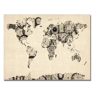 Michael Tompsett Old Clocks World Map Canvas Art