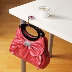 Clear Pink Crystal Heart Handbag Hanger