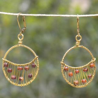 Brass, Wood and Glass Bead Crescent Earrings (India)