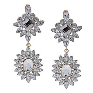 Morgan Ashleigh Silverplated Clear Glass Starburst Earrings