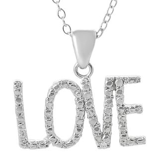 Tressa Sterling Silver Cubic Zirconia accented Love Necklace