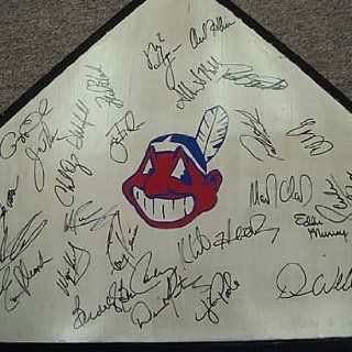1995 Cleveland Indians Team Signed Home Plate/Base Sports