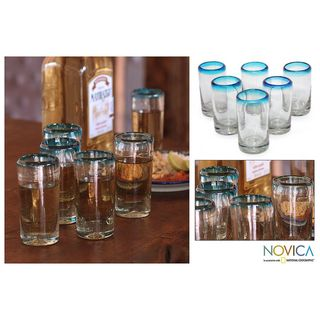 Set of Six Blown Glass Aquamarine Shot Glasses (Mexico)