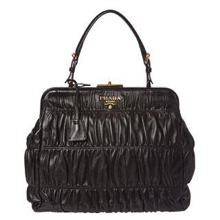 Prada Black Ruched Leather Tote Bag