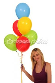 Pretty Woman Holding Balloons  Stock Photo © Duncan Noakes #2291157