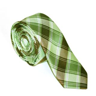 Skinny Tie Madness Mens Green and Brown Plaid Tie