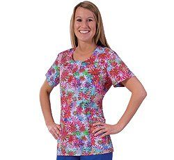 White Cross Uniforms Tye Dye Daisy Jewel Neck Scrub Top