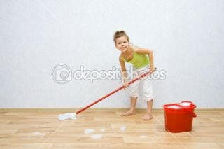 Little girl cleaning the floor  Stock Photo © Vadim Ponomarenko