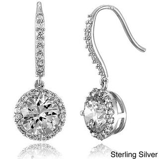 Collette Z Sterling Silver Round cut Cubic Zirconia Dangle Hook