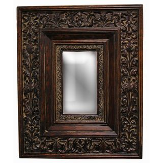 Rectangular Framed Gold Patina Wall Mirror