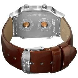 Philip Stein Mens Signature Chocolate Leather Strap Dual Time Watch