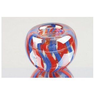 Murano Hand Blown Glass Rainbow Candle Holder Paperweight