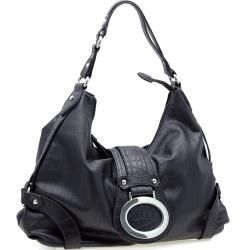 Dasein Two tone Croco Trimmed Faux leather Hobo Bag