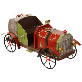 Antique Metal Holiday Fire Truck Figurine