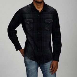 Pop Icon Mens Black Plaid Sandblasted Shirt