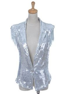 Anna Kaci S/M Fit Shiny Silver Circle Sequin Fringed