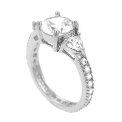 Sterling Silver Round and Trillion cut CZ Ring